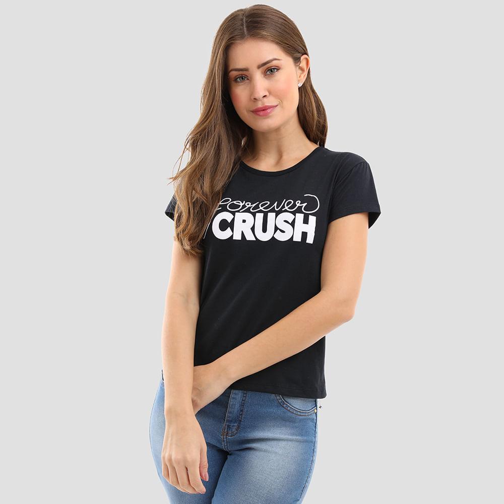 T-SHIRT-FRASE-FOREVER-CRUSH-1292-PRETO-M