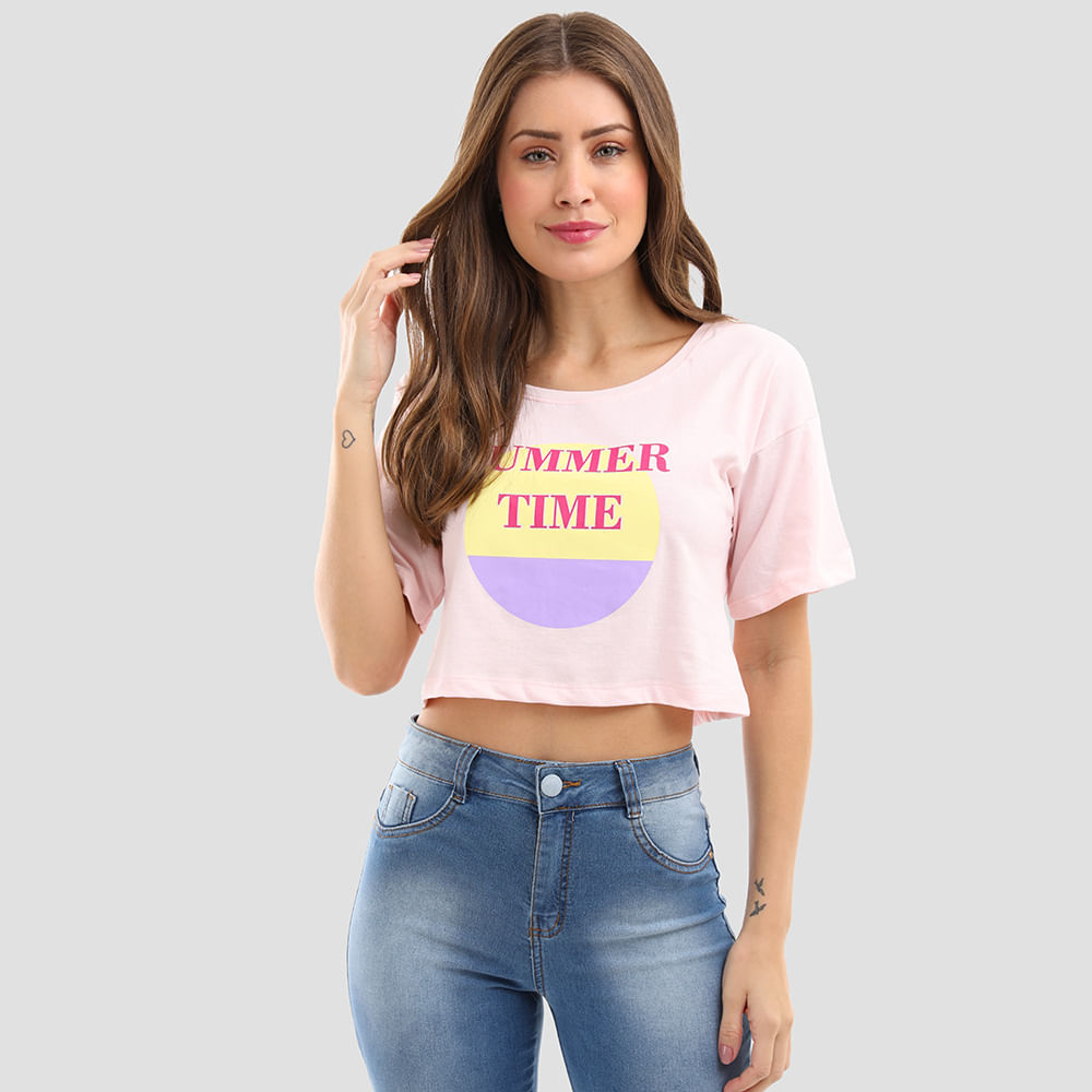T-SHIRT-CROPPED-SUMMER-TIME-9085-ROSE-M
